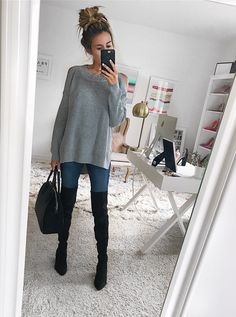 These 5 Sale Items Work with Any Outfit - Hello Fashion. Grey cold shoulder sweater+skinny jeans+black over the knee boots+black handbag. Fall Casual Outfit 2017