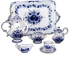 Gzhel Blue fairytale of Russia Blue And White China, Blue China, Porcelain Ceramics, White Ceramics, Dish Display, Russian Culture, Russian Folk, Tea Service, Blue Plates