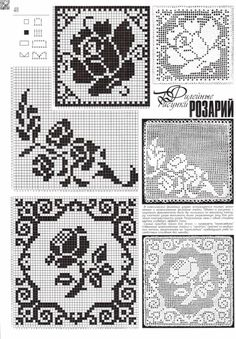 746 best images about Charts for filet crochet 5 on . Filet Crochet Charts, Crochet Motifs, Crochet Diagram, Crochet Squares, Thread Crochet, Crochet Doilies, Crochet Flowers, Crochet Lace, Crochet Stitches