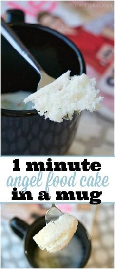 Easy Angel Food Cake in a Mug recipe that takes just 1 minute and it's done to perfection! Perfect dessert in a mug for one treat. ADV via free angel food cake recipe glutenfree Angel Food Cake in a Mug - 1 Minute Fat Free Dessert! Microwave Mug Recipes, Mug Cake Microwave, Microwave Baking, Microwave Meals, Angel Cake, Easy Desserts, Delicious Desserts, Angel Food Cake Desserts, Jello Desserts
