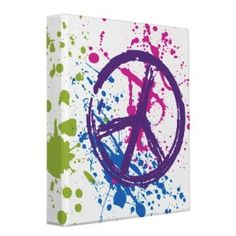 Idea... Peace Sign Paint Splatter Vinyl Binders: I think this would make a cool canvas wall hanging. Could even replace peace sign with child's initial
