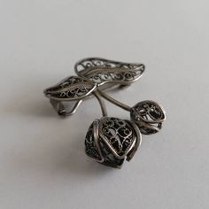 Filigree Brooch Tulipan Sterling Silver Brooch Gift Idea for Wife Filigree Jewelry Floral Brooch Silver Jewelry Flower Brooch