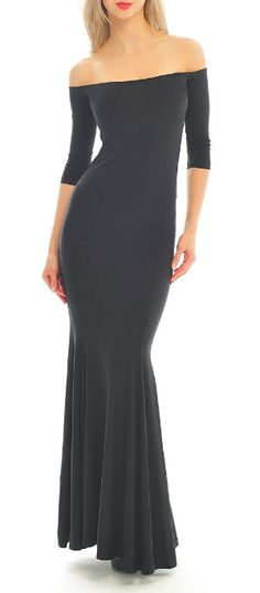 every woman needs a Black Off-Shoulder Maxi Dress