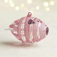 Glittered Glass Pink Pig Ornament | Crate and Barrel