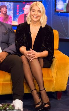 Stunning: Holly Willoughby, 38, slipped into a plunging velvet  dress for her appearance on The Jonathan Ross Show where she discussed returning as a host on Dancing On Ice