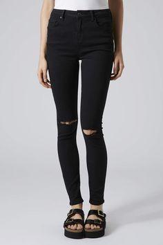 MOTO Black Ripped Jamie Jeans - Topshop USA