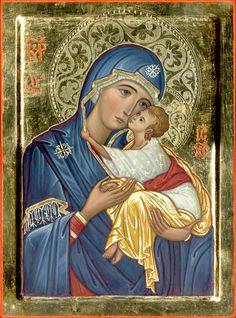 Theotokos by Francesco Perilli Mother Of Christ, Blessed Mother Mary, Divine Mother, Blessed Virgin Mary, Religious Images, Religious Icons, Religious Art, Mysore Painting, Art Deco Artists