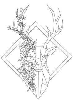 This geometrical coloring inspired by the origami style will be a pleasure to color., From the gallery : Deers - This geometrical coloring inspired by the origami style will be a pleasure to co. Cool Art Drawings, Pencil Art Drawings, Art Drawings Sketches, Easy Drawings, Tattoo Drawings, Flower Sketches, Tattoo Sketches, Geometric Drawing, Geometric Art