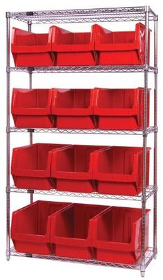 "Quantum Storage Systems WR5-533YL 5-Tier Complete Wire Shelving System with 12 QMS533 Yellow Magnum Bins, Chrome Finish, 18"" Width x 42"" Length x 74"" Height by Quantum. $533.07. Genuine Quantum modular wire systems offer a unique combination of shelf and post sizes in a variety of finishes to compliment any application. The split sleeve and grooved numbered posts allow for easy and quick assembly. The all welded shelf construction is supported with architectural wire trusses to p..."