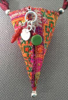 Textile necklace/pendant. Bohemian spirit. Warm and door VeronikB