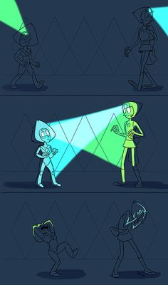 """lynxgriffin: All that plot and character and music and tenseness in the latest ep, and of course what I get out of it drawing-wise is """"man wouldn't it be hilarious if Pearl and Peridot accidentally shined their gem-flashlights into each others' eyes"""""""