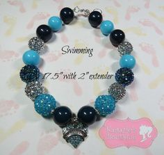"""""""Swimming"""" Chunky Beaded Necklace, Photo Prop, Child, Summer, Spring"""