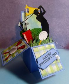 Golf Gifts Golf card in a box Father's Day card. Shapes from Silhouette Cameo cutter. Golf Cards, 3d Cards, Paper Cards, Cards Diy, Pop Up Box Cards, Card Boxes, Box Cards Tutorial, Birthday Cards For Men, Male Birthday