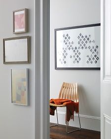 How to create this: photocopies of old photos cut into diamond shapes, then arranged, and framed. Looks great! Links to the Martha Stewart website which provides full instructions.