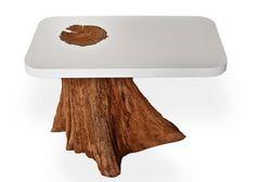 Bloom Side Table: modern resin top and salvaged cedar base. Cardboard Furniture, Log Furniture, Unique Furniture, Furniture Design, Weird Furniture, Resin Furniture, Concrete Furniture, Design Tisch, Table Design