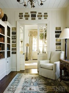 Georgia cottage library designed by Jackye Lanham. Atlanta Homes & Lifestyles.