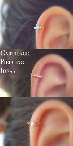 Simple Cute Ear Piercing Ideas at MyBodiArt.com - Cartilage Piercing Hoop Ring Jewelry Opal 16G Andromeda #TattooIdeasSimple