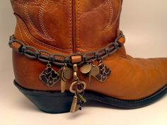 Boot Bracelet with Special charms. Old key by McIversRevivers Boot Bracelet, Bracelet Making, Bracelets, Boot Cuffs, Boot Socks, Boot Jewelry, Boot Bling, Walking Tall, Western Wear