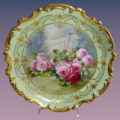 French Limoges 13 China Plaque Hand Painted Roses Signed Offered for sale is this stunning, artist signed, Limoges 13 inch scenic china plaque Painted Plates, Hand Painted, Painted Roses, Painted Porcelain, Vintage Plates, Vintage China, China Painting, Tea Roses, Pink Roses