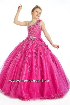 Ballkleid Abendkleid für Mädchen in Pink Blumenmädchenkleid Brautjungfernkleid Pink  www.modeshop-1.de