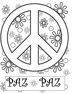 Si quieres aprender, ENSEÑA.: Trabajamos la paz Love Coloring Pages, Free Adult Coloring Pages, Coloring Sheets, Coloring Books, Flower Power Party, Peace Crafts, Woodstock, Silkscreen, Baby Drawing