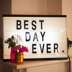 Cinematic Lightbox Sign at Wedding Message Light Box, Licht Box, Marquee Lights, Marquee Sign, Led Light Box, Boxing Quotes, Light Letters, Wedding Boxes, Slow Living