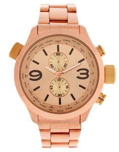 ASOS PREMIUM Mixed Metal Boyfriend Style Watch with Contrast Pushers and Crown Detail