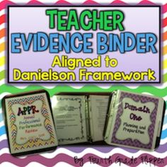 *Danielson Teacher Evidence Binder. 195 pages of cover pages, dividers, checklists, and EDITABLE artifact/evidence examples for Domains 1 and 4