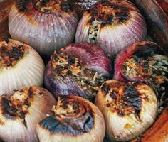 Roasted and stuffed red onions.        Roasted Stuffed Red Onions Recipe  at Epicurious.com