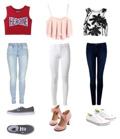 """""""crop tops"""" by amber-hemmings ❤ liked on Polyvore featuring J Brand, Forever New, ONLY, Converse and Vans"""