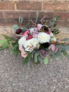 Love it! Pinned it! A Blooming Envy Design! Bouquet designed with Lavender, Blush and White Roses, Burgundy Ranunculus, Dusty Mauve Carnations, Wax Flowers and Eucalyptus.