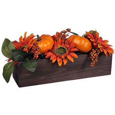 Sunflowers and Pumpkin Box Arrangement ($20) ❤ liked on Polyvore featuring home, home decor, floral decor, fall home decor, pumpkin home decor, artificial arrangement, autumn home decor and rustic home decor