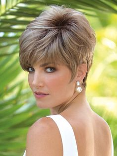 Jax Partial Monofilament (PM) Wig by Noriko is a tapered pixie cut with an asymmetric fringe bang. This wig features a monofilament part, which allows you to change the depth of your parting. This stacked short wig is edgy and modern. Haircut For Older Women, Haircut For Thick Hair, Short Hair Cuts For Women, Short Hair Styles, Stylish Short Haircuts, Short Pixie Haircuts, Monofilament Wigs, Short Wigs, Synthetic Hair