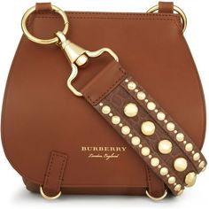 Burberry Studded strap leather shoulder bag (£1,760) ❤ liked on Polyvore featuring bags, handbags, shoulder bags, purses, handbags shoulder bags, hand bags, shoulder handbags, brown leather shoulder bag and leather shoulder bag