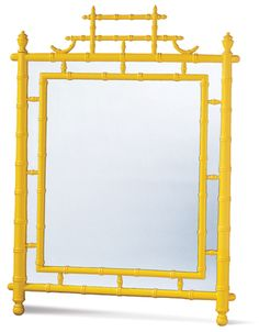 """""""I love this mirror in yellow bamboo. It's so chic and impossible to find anywhere else,"""" says Schoenborn."""