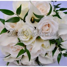 Timeless bridal bouquet mix with ivory and white roses, white calla lilies and touch of greenery Calla Lilies, Bridal Bouquets, White Roses, Special Events, Greenery, Floral Design, Ivory, Lily, Touch