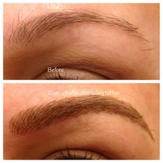 Before and after microblading which is a manual tattoo technique for semi permanent makeup eyebrows. Very natural when healed and lasts up to 18 months. Mircoblading Eyebrows, Permanent Makeup Eyebrows, Semi Permanent Makeup, Eyebrow Makeup, Eye Brows, Eyeliner Tattoo, Eyebrow Tattoo, Makeup 101, Hair Makeup