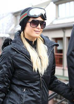 Paris Hilton Wearing Gucci ski goggles
