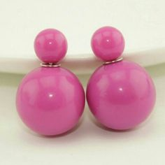 Double Sided Earrings Dark Pink Double Sided Earrings  $9.00 for 1 pair  $8.00 each for 2-3 pairs  $7.00 each for 4-5 pairs  $6.00 each for 6+ pairs Jewelry Earrings