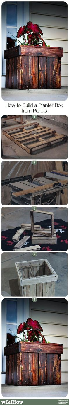How to Build a Planter Box from Pallets #pin_it #DIY #wood #furniture @mundodascasas www.mundodascasas.com.br