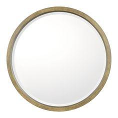 """Brushed Brown Beveled Mirror, 32""""Dia"""