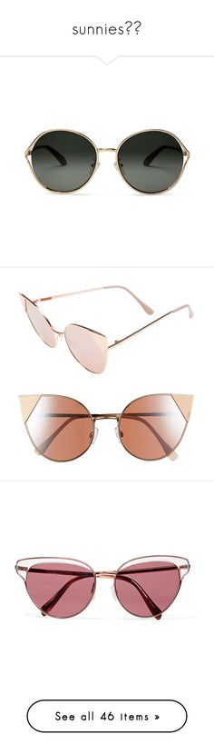 """""""sunnies☀️"""" by natashayoung ❤ liked on Polyvore featuring accessories, eyewear, sunglasses, gold, rose gold sunnies, oliver sunglasses, rounded glasses, gradient lens sunglasses, round sunglasses and glasses"""