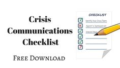 Crisis Communications Checklist - Free Download