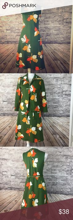 1970s Dress w/matching Jacket Green w/Leaf Print A few snags, but overall in good condition. See next to last pic for small mark on lower back right of dress. A similar mark in on the lower right front of jacket -- see last pic.  Tag says size 12, but it fits like a modern size 8. Hard to tell from pic, but hugs body and very flattering! Since vintage sizes differ from modern sizes, please message me for measurements for either dress and or jacket. (Not enough room here.) Dresses Midi