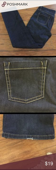 Ann Taylor Darkwash Jeans Super cute darkwash jeans. Ann Taylor modern fit Lindsay waist size 10. Gold thread. Minor frays on end of Pants see pictures. Super cute pants Ann Taylor Jeans Straight Leg