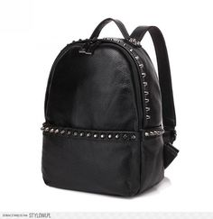 Rivet style genuine leather backpack