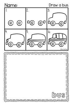 Back to School Directed Drawing - Printable Worksheets Kindergarten Drawing, Kindergarten Art Projects, Classroom Art Projects, Art Classroom, School Direct, September Art, Elementary Art Rooms, First Grade Phonics, Sensory Art