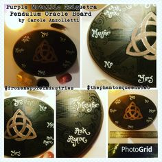 Purple Metallic Triquetra Hand Painted Spirit Pendulum Oracle Board One Of A Kind Gorgeous Oval Medium Sized by Carole Anzolletti by ThePhantomQueensLab on Etsy