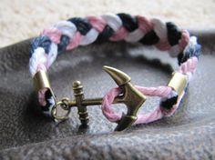 USA Seller - Anchor Clasp Braided Nautical Cotton Cord Bracelet, Pink, White and Navy