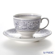 Wedgwood Florentine Indigo white tea cup and saucer (Lee)
